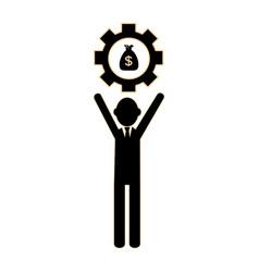 silhouette executive man holding a gear wheel vector image