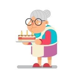 Bake complimentary cake Household Granny Old Lady vector image vector image