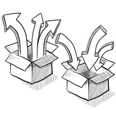 doodle boxes arrows upload download vector image