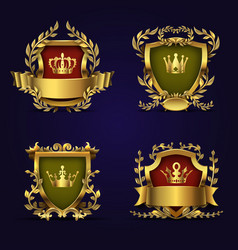 royal heraldic emblems in victorian style vector image vector image
