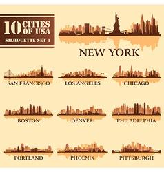 Set USA City 1 brown vector image
