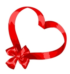 Valentine card with red satin bow and ribbon vector image