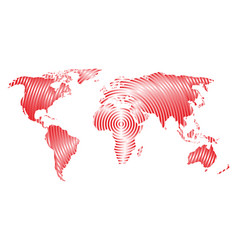 World map of grey concentric rings on white vector
