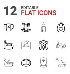 12 childhood icons vector image