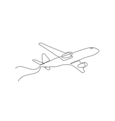airplane one line drawing airplane in line vector image