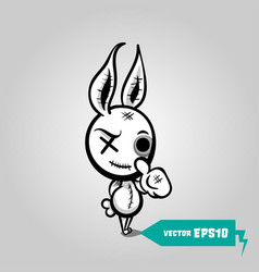 angry sewn voodoo bunny finger gesture thumb up vector image