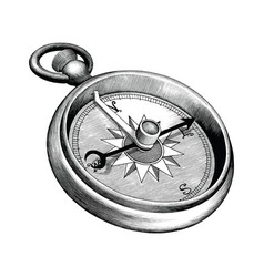 antique engraving compass black and white clip vector image