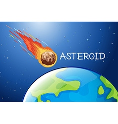Asteroid flying in the space vector