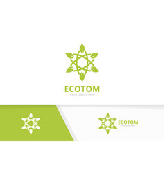 Atom and leaf logo combination molecule vector
