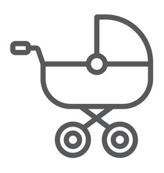Baby carriage line icon child and pram vector