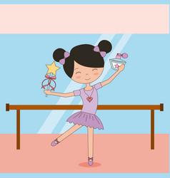 Ballerina in dance for ballet school or studio vector