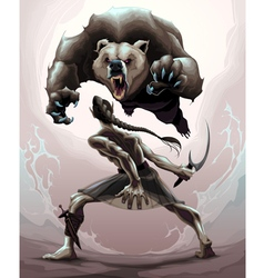 Battle scene between an elf and an angry bear vector image