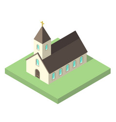Beautiful small isometric church vector