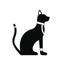 black egyptian cat icon simple style vector image