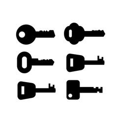 black key icon set on white vector image