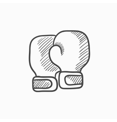 Boxing gloves sketch icon vector image