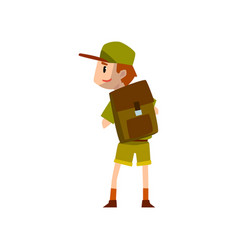 Boy scout character in uniform standing with vector