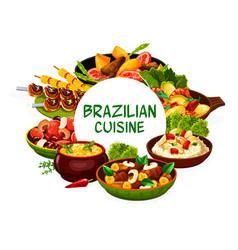 Brazilian cuisine food menu brazil national dishes vector