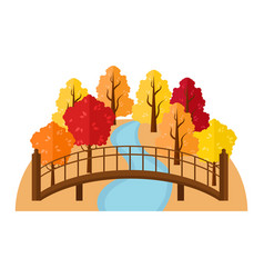 bridge over the river in the autumn forest vector image