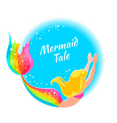 bright label with a mermaid isolated vector image