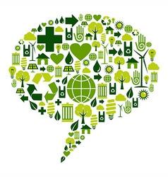 Bubble dialogue with environmental icons vector