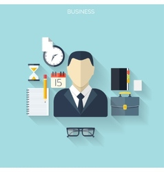 Business flat background with papersTemwork vector