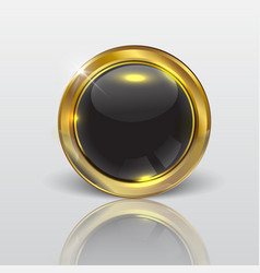 button web glossy black gold vector image