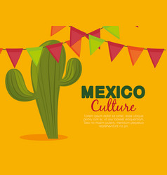cactus and party banner to celebrate event vector image