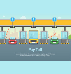 cartoon pay road toll card poster and text vector image
