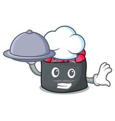 Chef with food ikura mascot cartoon style vector