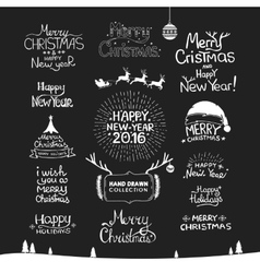 Christmas Happy New Year Calligraphic Hand drawing vector