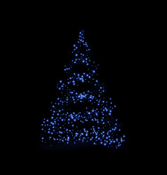 Christmas tree 3d card background blue christmas vector