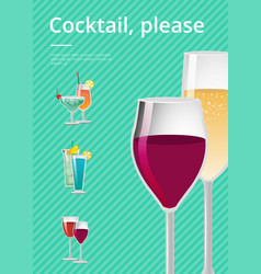 Cocktail pease drink types advertising poster vector