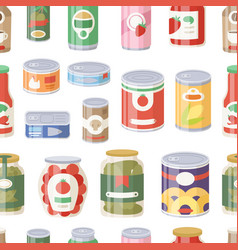 Collection various tins canned goods food metal vector