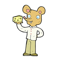 comic cartoon mouse holding cheese vector image