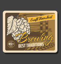 craft beer barrel with tap barley and hop branch vector image