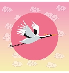 Crane bird japan culture design vector