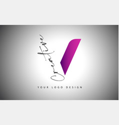 Creative letter v logo with purple gradient vector