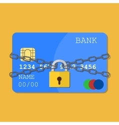 Credit card with chains and pad lock vector image