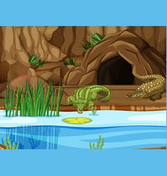 crocodile at the swamp vector image