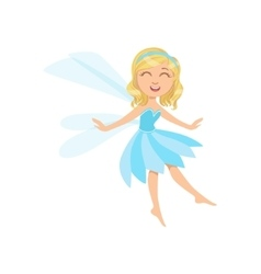 Cute Fairy In Blue Dress Girly Cartoon Character vector