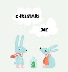 Cute winter greeting background with rabbits vector