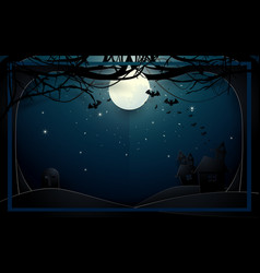 Dark castle and old trees on full moon background vector