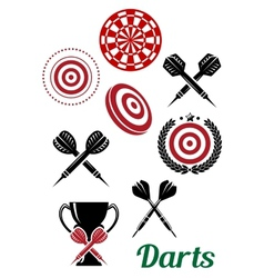 Darts sporting red and black design elements vector image