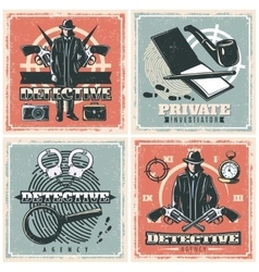 Detective Agency Posters Set vector