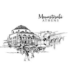 Drawing sketch monastiraki square in athens vector