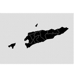 east timor map - high detailed black map with vector image