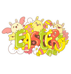 easter doodle cute cartoons in kawaii style vector image