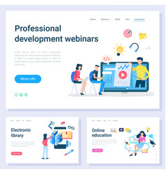 education website webinars and library vector image