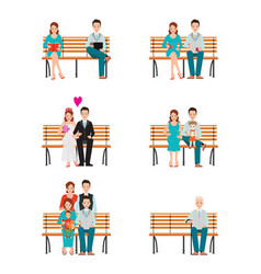 Family generations development stages process vector